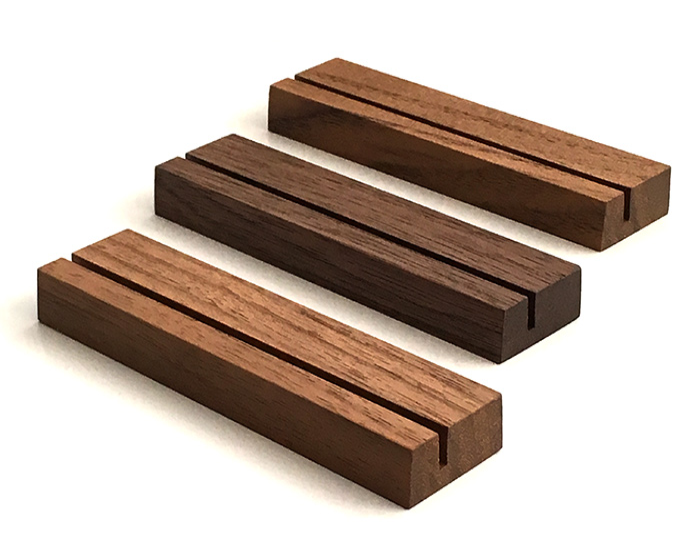 木製カードスタンド 1~3枚用 ブラックウォールナット材 3個セット