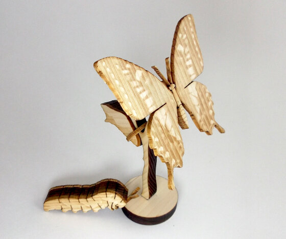 かんたん木工作キット クイック・クラフトン 第1弾 昆虫 No.4 アゲハチョウ 幼虫、さなぎ、止まり木セット