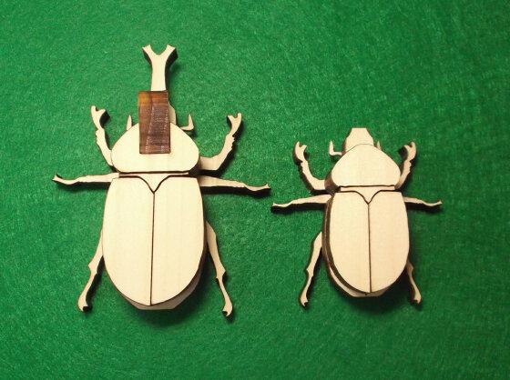 かんたん木工作キット クイック・クラフトン 第1弾 昆虫 No.1 カブトムシ オス、メス2匹セット