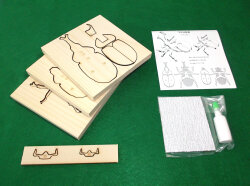 かんたん木工作キット クイック・クラフトン 第1弾 昆虫 No.1 カブトムシ オス、メス2匹セットのキット内容