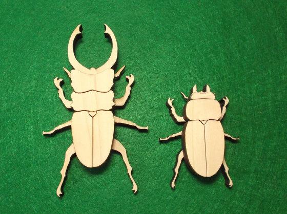 かんたん木工作キット クイック・クラフトン 第1弾 昆虫 No.2 クワガタ オス、メス2匹セット
